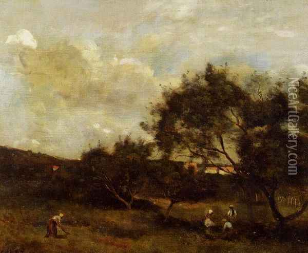 Peasants near a Village Oil Painting - Jean-Baptiste-Camille Corot