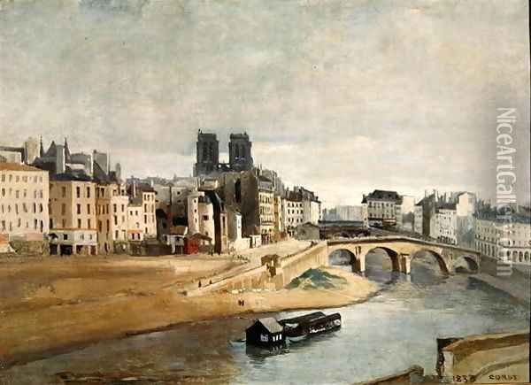The Seine and the Quai des Orfevres, 1835 Oil Painting - Jean-Baptiste-Camille Corot
