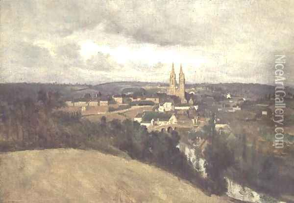 General View of the Town of Saint-Lo, c.1833 Oil Painting - Jean-Baptiste-Camille Corot