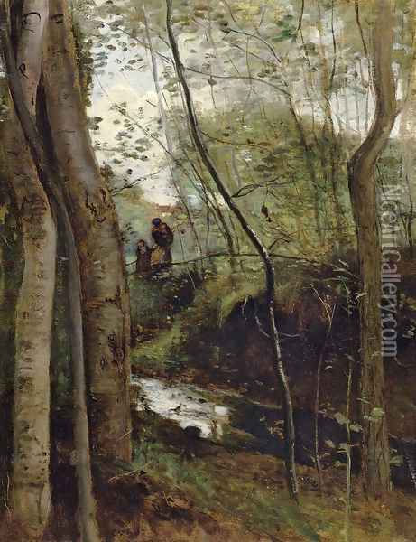 Stream in the Woods Oil Painting - Jean-Baptiste-Camille Corot