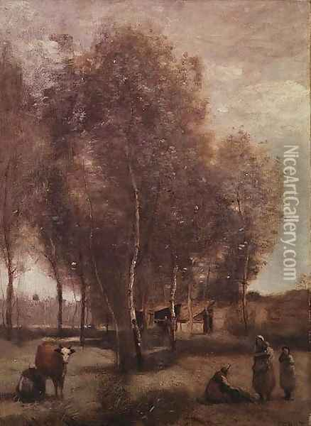 St.Catherine-les-Arras-Fields with trees and cottages Oil Painting - Jean-Baptiste-Camille Corot
