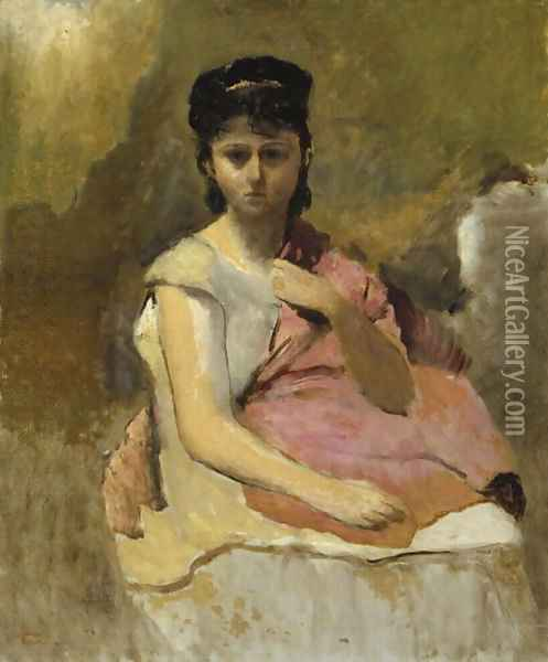 Woman with a Pink Shawl, c.1868 Oil Painting - Jean-Baptiste-Camille Corot