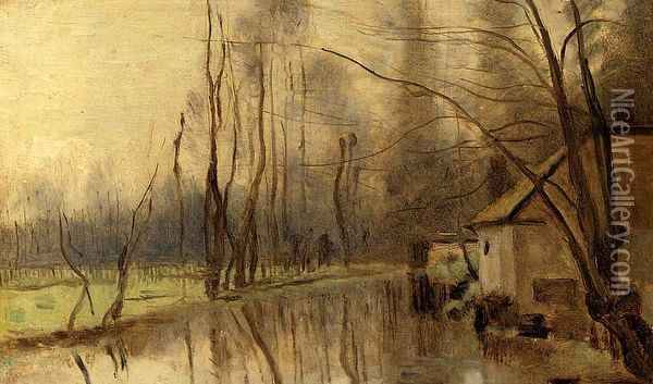 Voisinlieu, House by the Water Oil Painting - Jean-Baptiste-Camille Corot