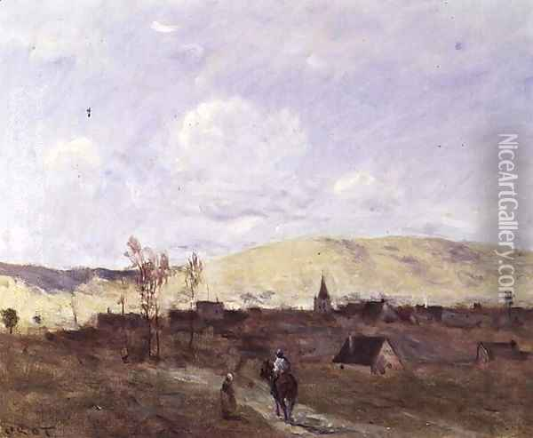 Cavalier in sight of a Village, 1872 Oil Painting - Jean-Baptiste-Camille Corot