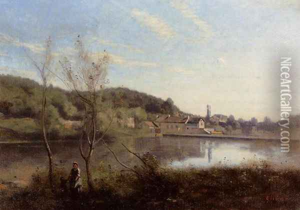 Ville d'Avray, the Large Pond and Villas Oil Painting - Jean-Baptiste-Camille Corot