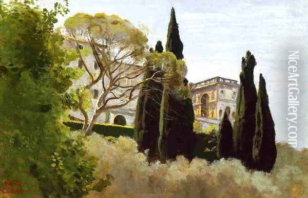 The Facade of the Villa d'Este at Tivoli, View from the Gardens Oil Painting - Jean-Baptiste-Camille Corot