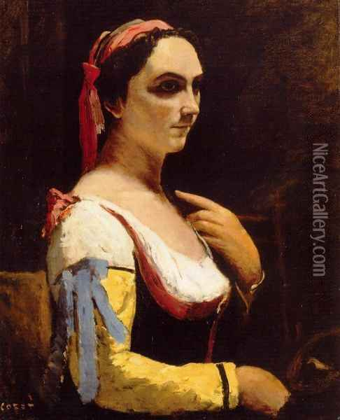 Italian Woman with a Yellow Oil Painting - Jean-Baptiste-Camille Corot