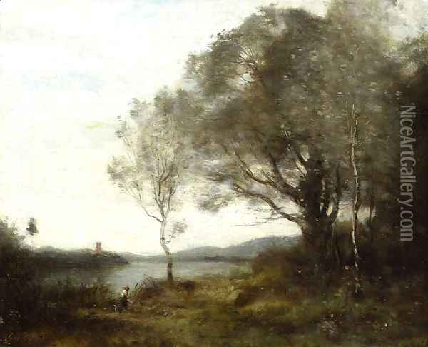 The Walk around the Pond Oil Painting - Jean-Baptiste-Camille Corot