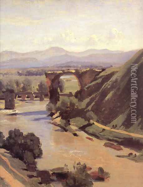 The Augustan Bridge at Narni [detail] Oil Painting - Jean-Baptiste-Camille Corot