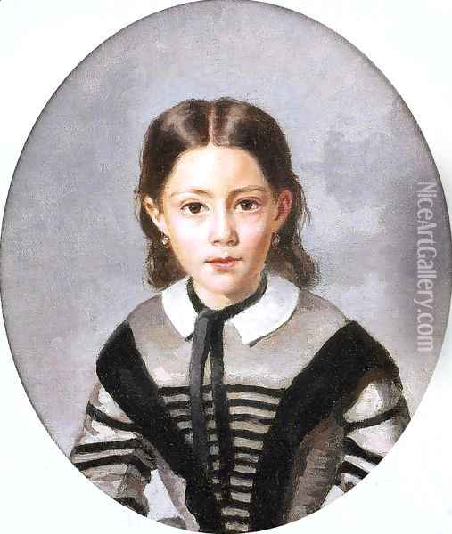 Louise-Laure Baudot at Nine Years Oil Painting - Jean-Baptiste-Camille Corot