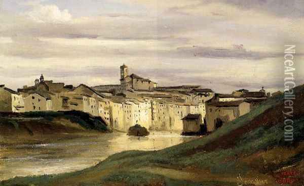 On the Banks of the Tiber Oil Painting - Jean-Baptiste-Camille Corot