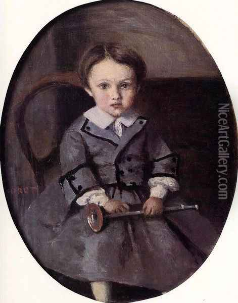 Maurice Robert as a Child Oil Painting - Jean-Baptiste-Camille Corot