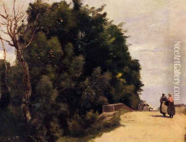 The Little Bridge at Mantes Oil Painting - Jean-Baptiste-Camille Corot