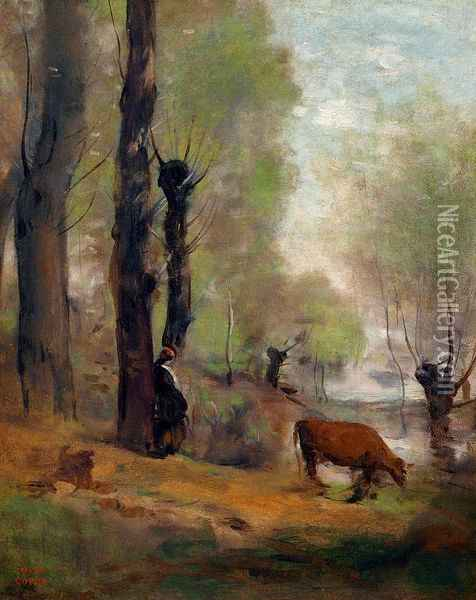 Peasant Woman Watering Her Cow Oil Painting - Jean-Baptiste-Camille Corot