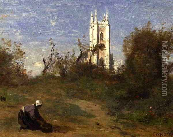Landscape with a White Tower, Souvenir of Crecy Oil Painting - Jean-Baptiste-Camille Corot