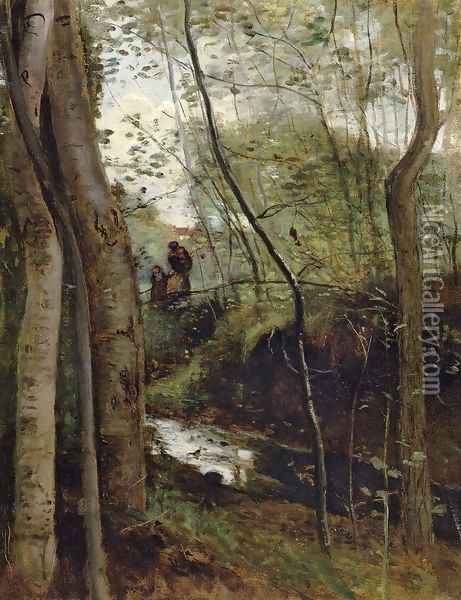 Un ruisseau sous bois (Stream in the Woods) Oil Painting - Jean-Baptiste-Camille Corot
