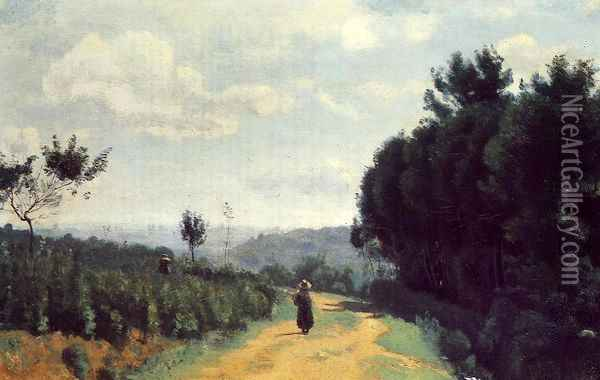 The Severes Hills - Le Chemin Troyon Oil Painting - Jean-Baptiste-Camille Corot