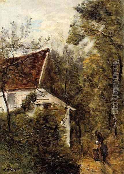 Luzancy, the Path through the Woods Oil Painting - Jean-Baptiste-Camille Corot