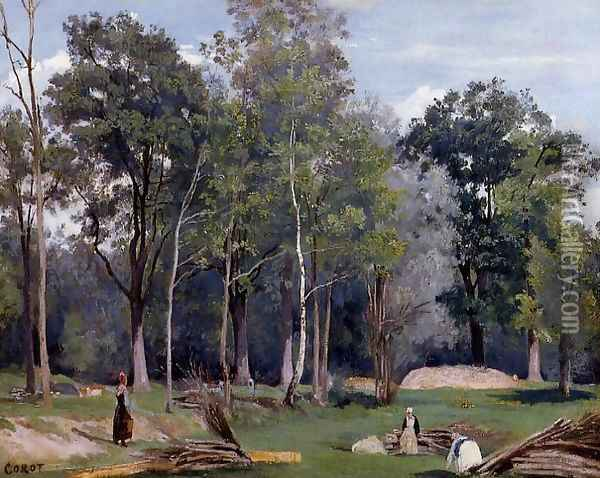 In the Woods at Ville d'Avray Oil Painting - Jean-Baptiste-Camille Corot