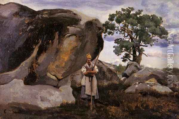 The Forest of Fontainebleau Oil Painting - Jean-Baptiste-Camille Corot