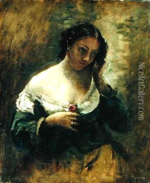 The Girl With The Rose, c.1865 Oil Painting - Jean-Baptiste-Camille Corot