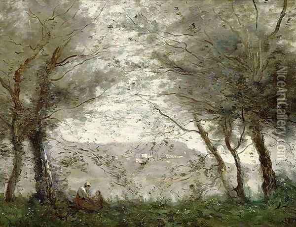 The Pond at Ville-d'Avray through the Trees, 1871 Oil Painting - Jean-Baptiste-Camille Corot