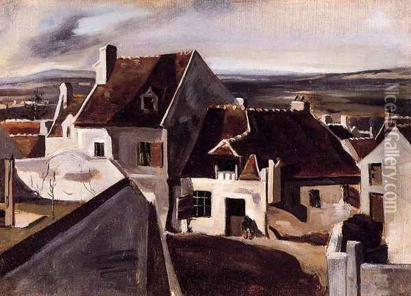 The Inn at Montigny-les-Cormeilles Oil Painting - Jean-Baptiste-Camille Corot