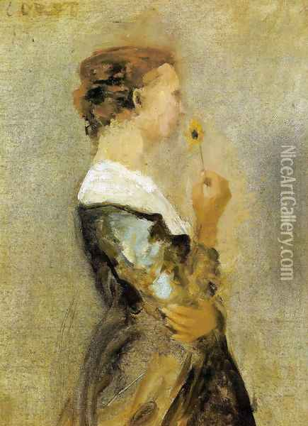 A woman with a flower Oil Painting - Jean-Baptiste-Camille Corot