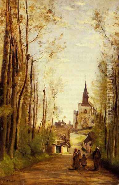Marissal, Path to the Front of the Church Oil Painting - Jean-Baptiste-Camille Corot