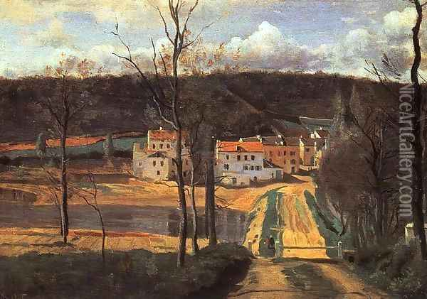Ville d'Avray - the Pond and the Cabassud House Oil Painting - Jean-Baptiste-Camille Corot