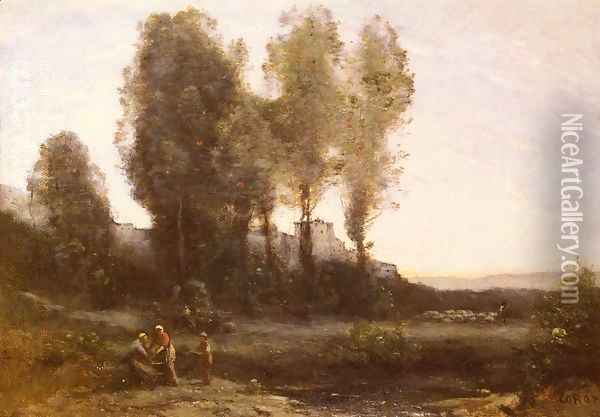 Le Monastere Derriere Les Arbres (The Monastery Behind the Trees) Oil Painting - Jean-Baptiste-Camille Corot