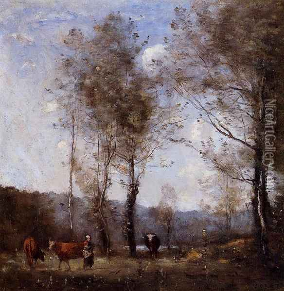 Ville d'Avray, Cowherd in a Clearing near a Pond Oil Painting - Jean-Baptiste-Camille Corot