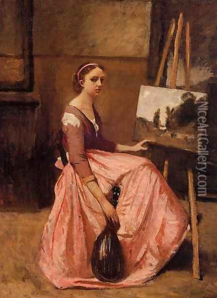 Young Woman in a Red Dress Oil Painting - Jean-Baptiste-Camille Corot