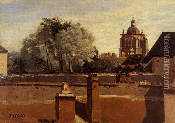 Orleans - View from a Window Overlooking the Saint-Peterne Tower Oil Painting - Jean-Baptiste-Camille Corot