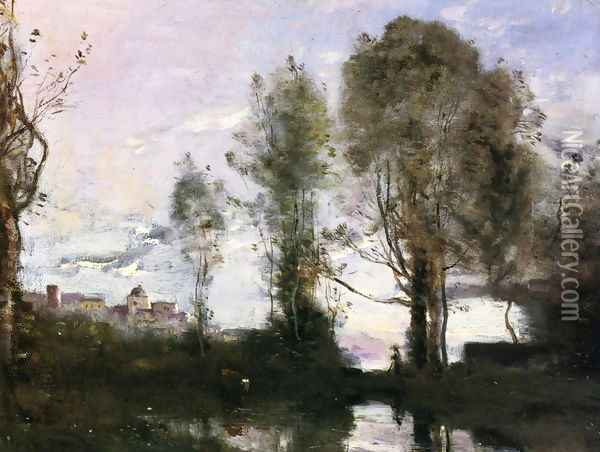 Edge of a Lake (also known as Souvenir of Italy) Oil Painting - Jean-Baptiste-Camille Corot