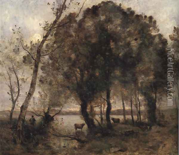 The Lake 1861 Oil Painting - Jean-Baptiste-Camille Corot