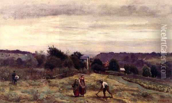 Ville d'Avray - the Heights: Peasants Working in a Field Oil Painting - Jean-Baptiste-Camille Corot