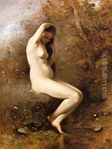 Venus at Her Bath Oil Painting - Jean-Baptiste-Camille Corot