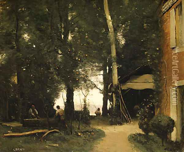 The Banks of the Seine at Conflans 1865 Oil Painting - Jean-Baptiste-Camille Corot