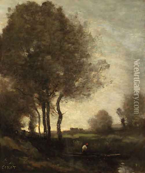Pcheur en barque (Fisherman in a Boat) Oil Painting - Jean-Baptiste-Camille Corot