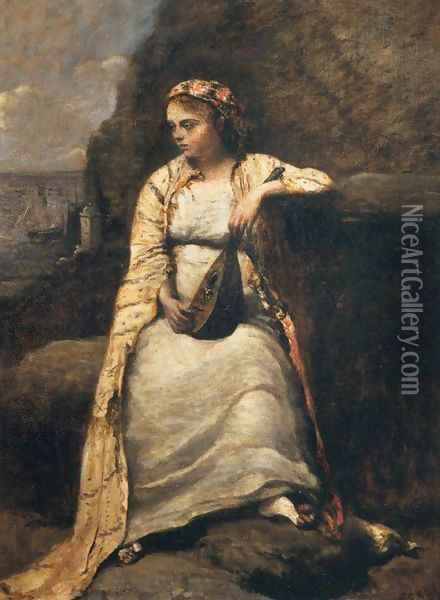 Haydee, Young Woman in Greek Dress Oil Painting - Jean-Baptiste-Camille Corot