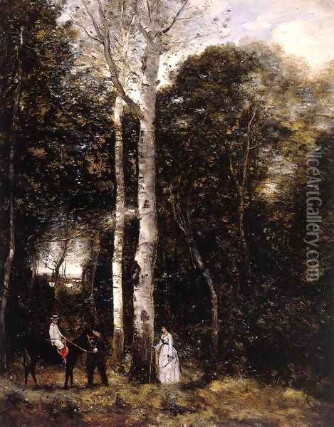 Promenade in the Parc des Lions at Port-Marly Oil Painting - Jean-Baptiste-Camille Corot