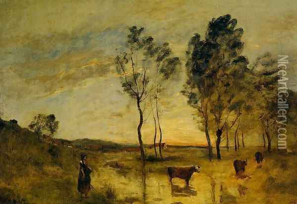 Le Gue (aka Cows on the Banks of the Gue) 1870-1875 Oil Painting - Jean-Baptiste-Camille Corot