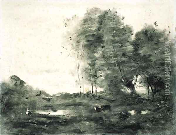 An extensive wooded landscape with cows Oil Painting - Jean-Baptiste-Camille Corot
