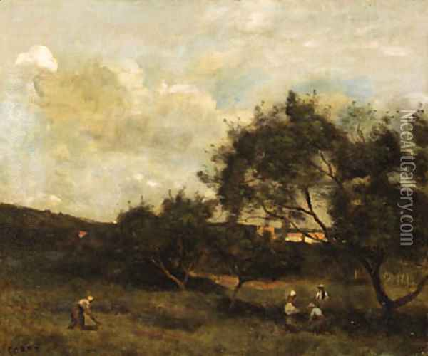 Paysans en vue d'un village (Peasants within sight of a Village) Oil Painting - Jean-Baptiste-Camille Corot