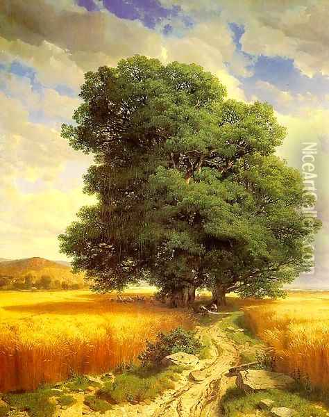 Landscape with Oak Trees 1859 Oil Painting - Alexandre Calame