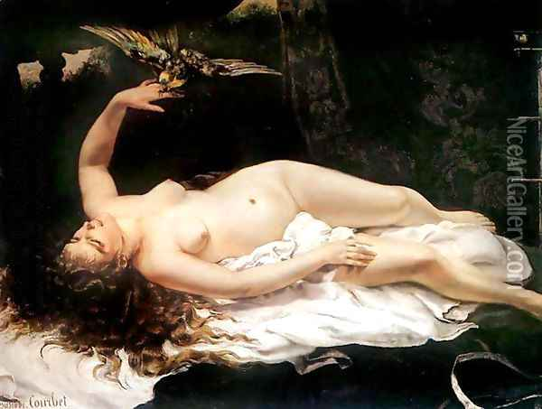 Woman with a Parrot Oil Painting - Gustave Courbet
