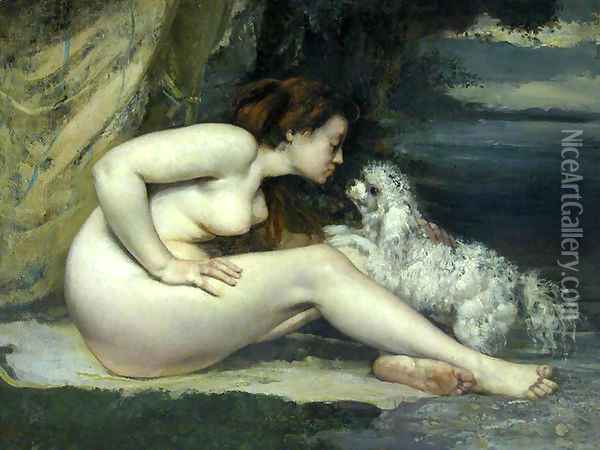 Nude woman with a dog Oil Painting - Gustave Courbet