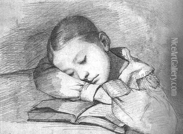 Portrait of Juliette Courbet as a Sleeping Child Oil Painting - Gustave Courbet