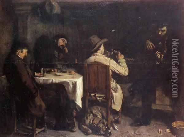 After Dinner at Ornans, 1848 Oil Painting - Gustave Courbet